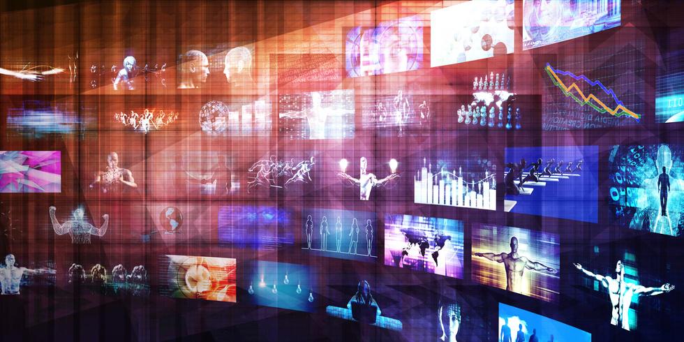Ecrans avec contenus médias
